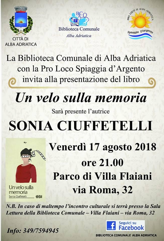 Un velo sulla memoria: presentazione nel parco della Biblioteca Comunale di Alba Adriatica.